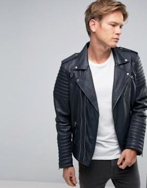 Goosecraft Темно-синяя кожаная байкерская куртка с асимметричной молнией Goosecra. Цвет: темно-синий