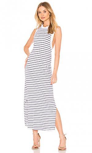 Платье striped crew neck tank dress Stateside. Цвет: белый