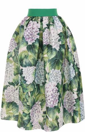Шелковая юбка с цветочным принтом и широким поясом Dolce & Gabbana. Цвет: зеленый