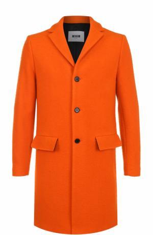 Шерстяное однобортное пальто MSGM. Цвет: оранжевый