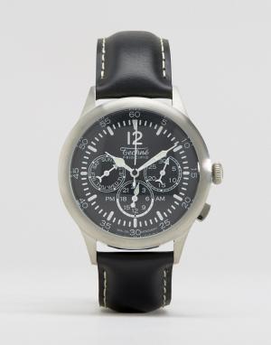 Techne Часы-хронограф с черным кожаным ремешком Merlin. Цвет: черный