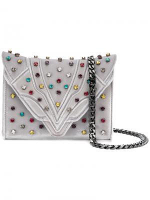 Клатч с заклепками кристаллами Elena Ghisellini. Цвет: серый