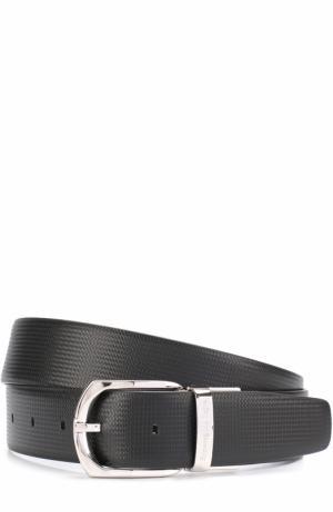 Кожаный ремень с металлической пряжкой Ermenegildo Zegna. Цвет: черный