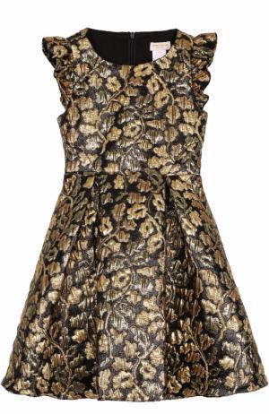 Платье-миди с металлизированной цветочной отделкой и оборками David Charles. Цвет: черный