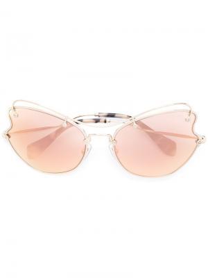 Солнцезащитные очки в оправе кошачий глаз Miu Eyewear. Цвет: жёлтый и оранжевый