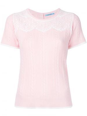 Трикотажный свитер с короткими рукавами и узором косы Guild Prime. Цвет: розовый и фиолетовый
