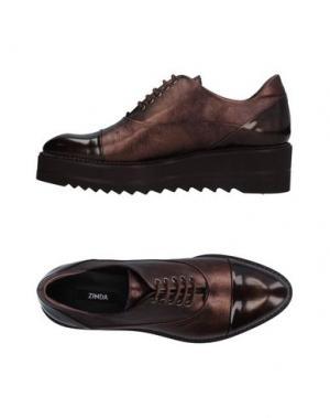 Обувь на шнурках ZINDA. Цвет: бронзовый