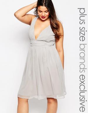 Truly You Платье миди для выпускного с глубоким вырезом и запахом. Цвет: серый