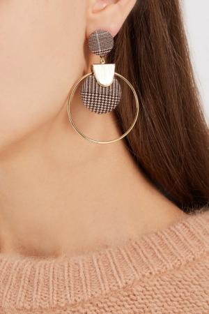 Серьги-кольца с клетчатым декором Lisa Smith. Цвет: черный/белый/золотой