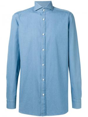Классическая рубашка Borrelli. Цвет: синий