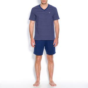 Пижама из хлопка джерси La Redoute Collections. Цвет: серо-синий в полоску,темно-синий в полоску