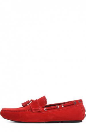 Замшевые топсайдеры с кисточками Biarritz Brioni. Цвет: красный