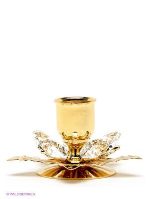 Подсвечник Цветок Юнион. Цвет: золотистый