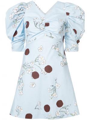 Платье с рисунком из цветков и горошин Isa Arfen. Цвет: синий