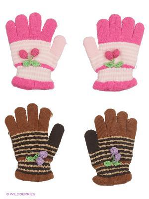 Перчатки, 2 пары FOMAS. Цвет: коричневый, бледно-розовый, розовый, черный