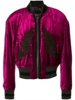 Декориорванная куртка-бомбер Haider Ackermann. Цвет: розовый и фиолетовый