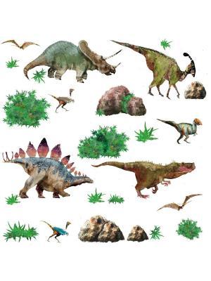 Наклейки для декора Динозавры ROOMMATES. Цвет: белый, черный, синий, зеленый, серый, голубой, красный, оранжевый, желтый