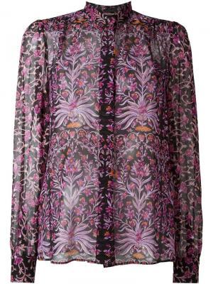 Полупрозрачная рубашка с цветочным узором Giambattista Valli. Цвет: телесный