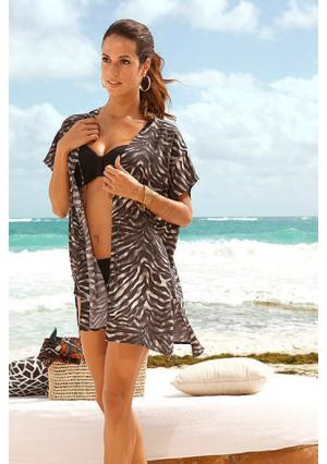 Пляжное кимоно. Цвет: черный/бежевый