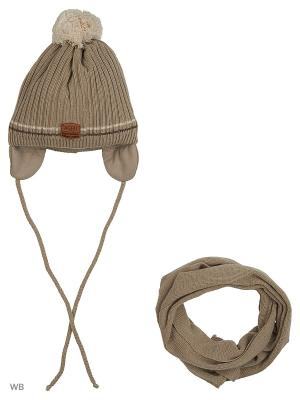 Шапка и шарф Agbo. Цвет: бежевый
