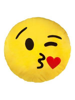 Большая подушка-смайлик Целую 35 см SOXshop. Цвет: желтый