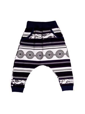 Штаны с карманами на резинке интерлок Агат. Цвет: белый, фиолетовый