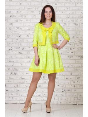 Костюм жакет и платье MAXLINE. Цвет: желтый