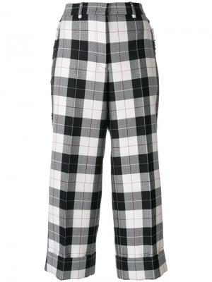 Sack Trouser With Fray In Large Buffalo Check Wool/ Cotton Sable Thom Browne. Цвет: синий