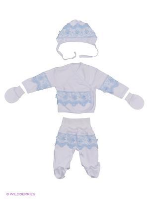 Комплект 4 предмета на выписку ЭЛИТ Ивбэби. Цвет: белый, голубой