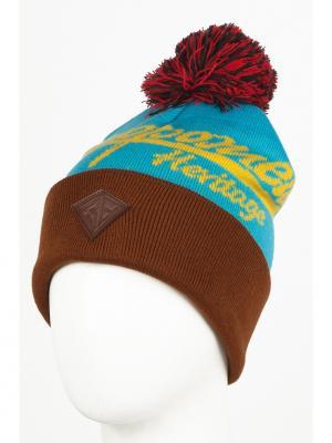 Шапка Zap Classic Logo Beanie Запорожец. Цвет: голубой, желтый, коричневый