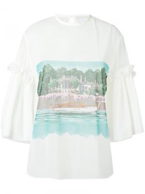 Прозрачная блузка с принтом Marco De Vincenzo. Цвет: белый