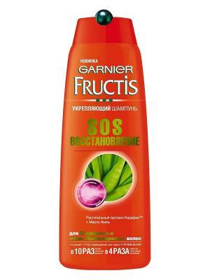 Шампунь Fructis, SOS восстановление укрепляющий, для секущихся и поврежденных волос, 250 мл Garnier. Цвет: белый, оранжевый
