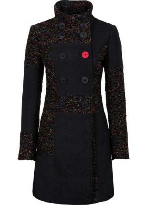 Пальто в миксе узоров и материалов (черный с рисунком) bonprix. Цвет: черный с рисунком