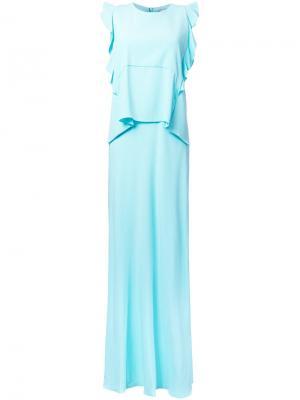 Длинное платье с оборками Carven. Цвет: зелёный