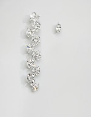 Krystal Непарные серьги с кристаллами Swarovski London Trellis. Цвет: серебряный