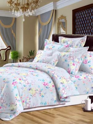 Комплект постельного белья, сатин, семейный, пододеяльник на молнии, 2 нав. 50*70см и 70*70см Letto. Цвет: голубой, розовый