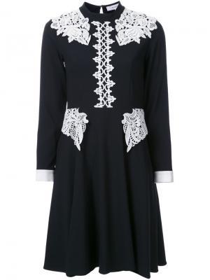 Расклешенное платье с кружевными вставками Murral. Цвет: чёрный