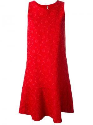 Кружевное жаккардовое платье Ermanno Scervino. Цвет: красный