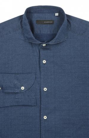 Рубашка с воротником акула мелким принтом Stanbridge. Цвет: синий