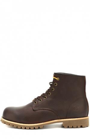 Ботинки Moscow из фактурной кожи на шнуровке Affex. Цвет: темно-коричневый