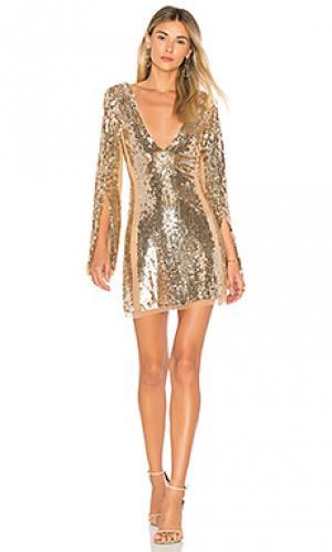 Мини платье lux Lovers + Friends. Цвет: металлический золотой