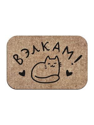 Коврик придверный Вэлкам кот MoiKovrik. Цвет: темно-бежевый