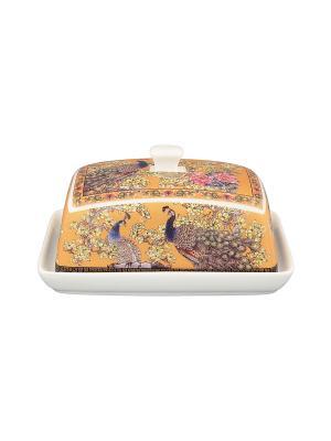 Масленка Павлин золотой Elan Gallery. Цвет: золотистый, синий, коричневый, розовый