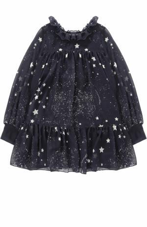 Мини-платье свободного кроя с оборками и принтом Monnalisa. Цвет: синий
