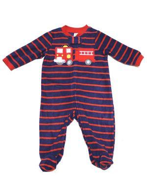 Комбинезон для сна флисовый Пожарный Little Me. Цвет: синий, красный