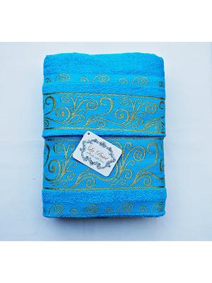 Комплект полотенец  Золотой орнамент 2 предмета 50х90, 70х140. La Pastel. Цвет: голубой
