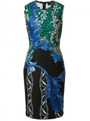 Приталенное платье с цветочным принтом Yigal Azrouel. Цвет: синий