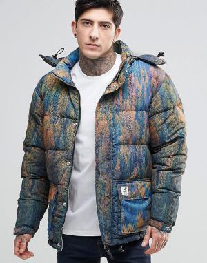 Fat Moose Стеганая куртка с принтом и съемным капюшоном Urban Heat. Цвет: зеленый