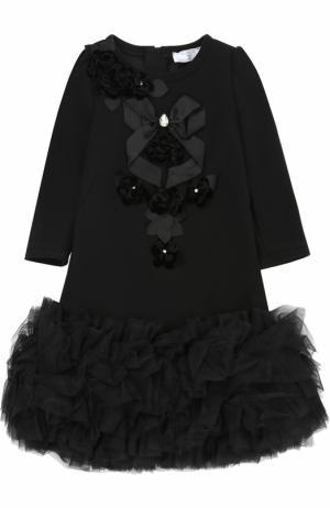 Приталенное мини-платье с объемным подолом и декором кристаллами Monnalisa. Цвет: черный