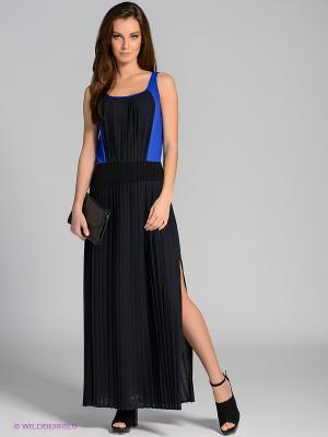 Платье Stefanel. Цвет: черный, синий, коричневый